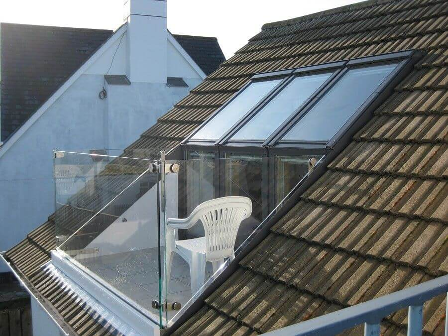 Loft conversion glass modern roof balcony milestone loft for Velux balcone
